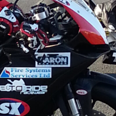 Aaron Radiators Sticker on Will Caines Bike